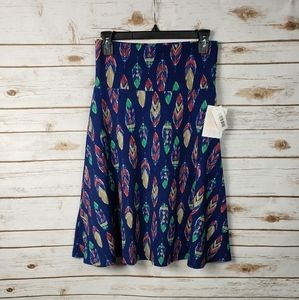 Lularoe Azure Feather Navy Multi Skirt Festival